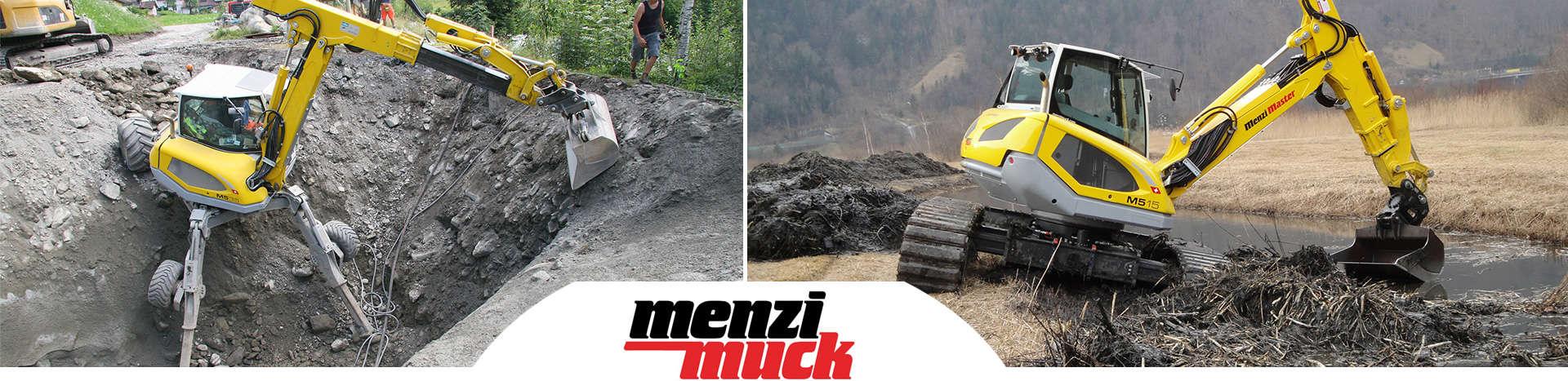 Menzi Muck Schreitbagger für schwieriges Gelände. Menzi Master Raupenbagger.