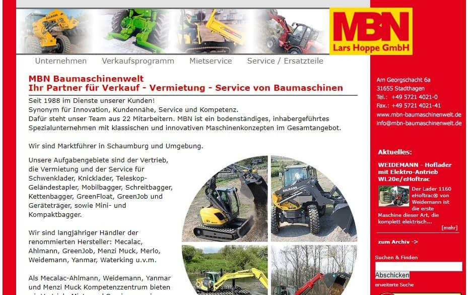 alte Internetseite der MBN Baumaschinenwelt